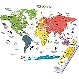 HomeEvolution - Grand autocollant mural amovible éducatif - motif carte du monde - décoration idéale pour une chambre d'enfan