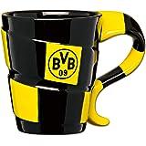Borussia Dortmund Taza con diseño de bufanda, Unisex, Negro/Amarillo