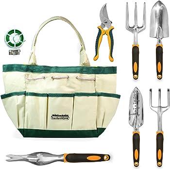 GardenHOME - Attrezzi da giardino 7 pezzi - 1 sacchetto di attrezzi da giardino, 3 attrezzi, 2 forbici, 1 spruzzatore da giardino, un regalo perfetto per gli amanti del giardinaggio (Confezione 1)