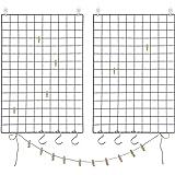 SONGMICS LPP02H-Pared de Fotos de Malla de Alambre, Juego de 2, decoración, Multifuncional, Rejilla de Pared, DIY, con Gancho