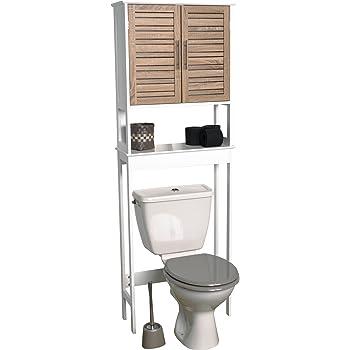 Badezimmerregal für über die Toilette - 2 Türen und 1 Ablagefläche ...