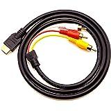 Chenduomi - Convertitore da HDMI a AV, 1080p, da HDMI a 3RCA, AV/CVBS, colore nero