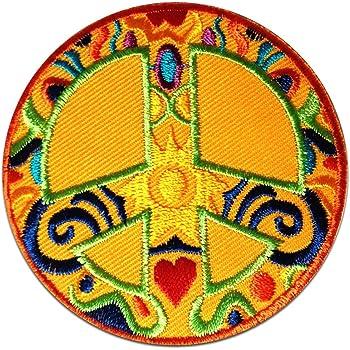 Bügelbild bunt Peace Frieden Symbol Blumen Aufnäher Ø6,9cm