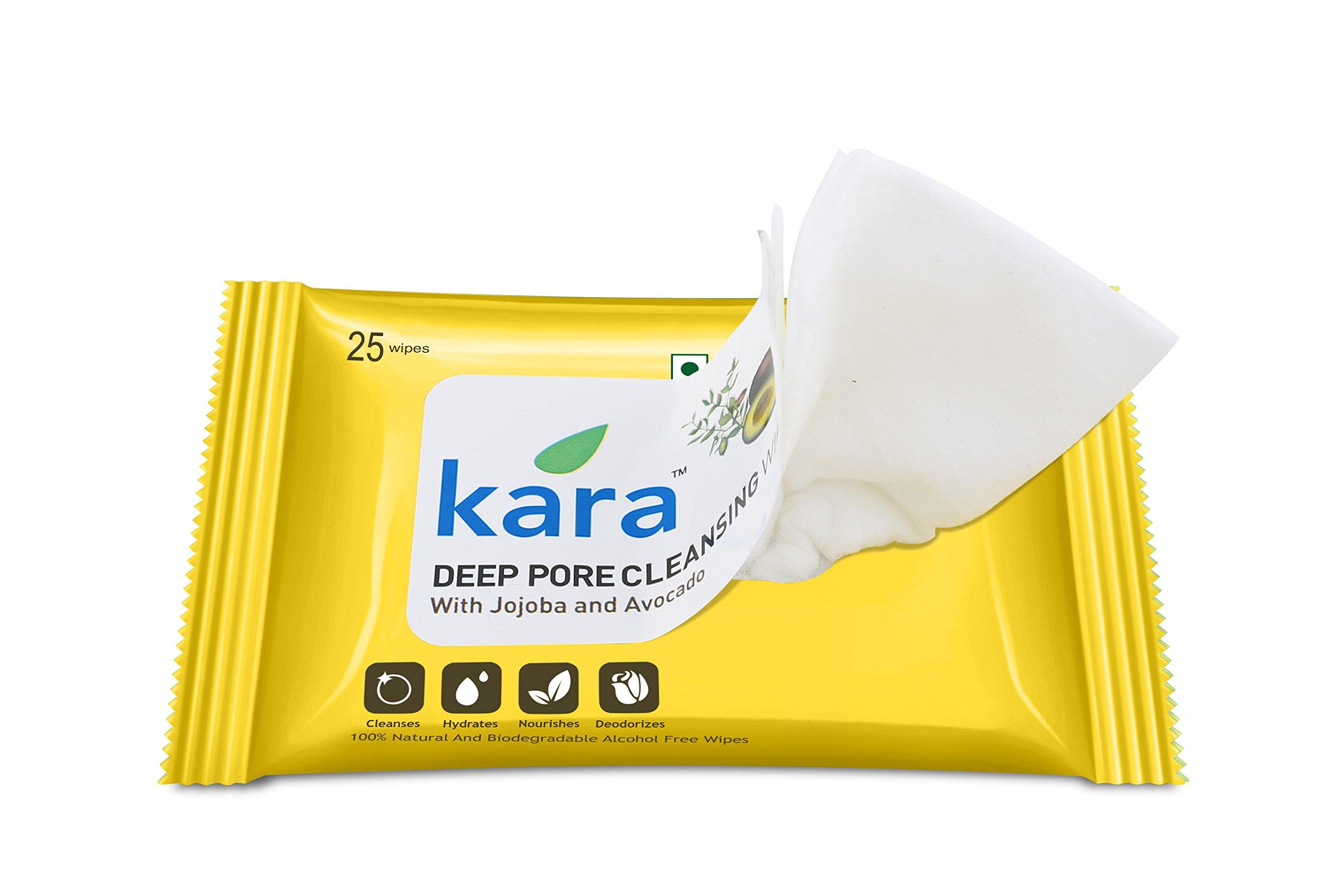 Kara Deep Pore Cleansing Face Wipes - Viscose Fibre - Jojoba & Avocado - 25Pcs
