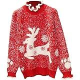 Sylar Jersey Navidad Mujer Jerseys de Punto Cuello Redondo Suéter Mujer Invierno Manga Larga Cuello Alto con Estampado de Alc