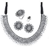 Yellow Chimes German Silver Oxidised Jewellery Set Traditional Threaded Choker Necklace Set for Women and Girls