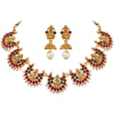 Shining Diva Fashion Latest Designs 18k Gold Plated Wedding Party Wear Stylish Traditional Choker Necklace Jewellery Set for