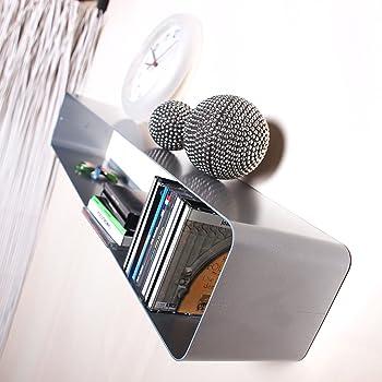 lounge design cd regal cube 80cm f r metall retro wandregal von xtradefactory silber. Black Bedroom Furniture Sets. Home Design Ideas