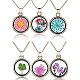 Yumilok - Collana in lega di vetro con fiori secchi, multicolore, a forma di cuore, rotondo, con ciondolo a forma di cuore, i