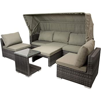 funktions loungeset in grauem polyrattan mit auflagen in. Black Bedroom Furniture Sets. Home Design Ideas