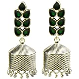 Tripti Indian Hand Crafted Silver Oxidixed Dome Jhumki Earrings with Crystals for Women and Girls