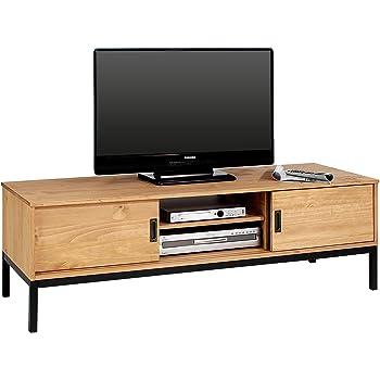 idimex lowboard tv mobel selma fernsehtisch fernsehschrank im industrial design mit 2 schiebeturen 1 offenes fach kiefer massiv gebeizt gewachst