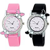 Crispy Analog Butterfly Diamond Studded Watch Combo for Womens (Pink and Black)
