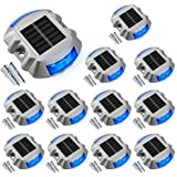 Solar Deck Lights Driveway Dock Lights, VOLISUN 12-Pack Led Wireless IP67 Waterproof Outdoor Warning Step Lights (Blue) for D