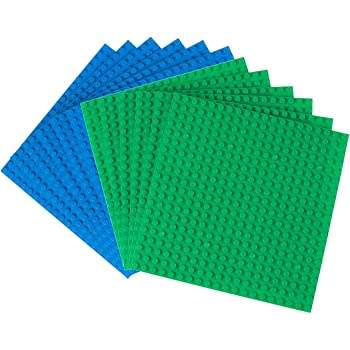 """Strictly Briks Premium Green And Blue Colored 6"""" X 6"""" Construction Base Plate 12 Pack - Compatible With All Major Brands"""