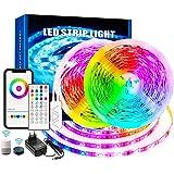 GreenSun DreamColor Ledstrip, RGBIC, 10 m, smart lichtband, kleurverandering, muziekstrip met wifi-controller, compatibel met