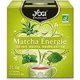 Yogi Biologique Matcha Énergie, Thé Vert 100% Bio Matcha et Menthe Poivrée, 12 Sachets thermosoudés et sans agrafe, 21.6 g, 3