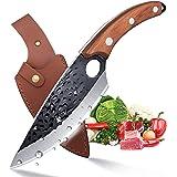Couteau à Désosser Couteau de Chef Professionnel Couteau Cuisine Acier Carboné Coupant Couperet de Boucher Couteau à Viande F