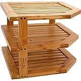 Wooglaste ® - Organiseur de Cuisine -Étagère d'angle - Porte Assiettes - en Bois de Bambou - Grand Format - 3 Niveaux de Rang