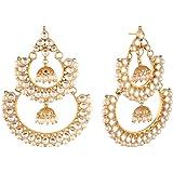 ACCESSHER Jadau Kundan and Pearl Chandbali with Jhumki Gold Plated Dangle Earrings for Women