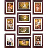 Amazon Brand - Solimo Collage Set of 10 Rosewood Photo Frames (6 X 8 Inch - 10)