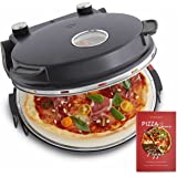 Pizzaoven Peppo 1200W, pizza maker, mini-oven elektrisch, 350 °C, incl. emaille koekenpan en 2 pizzascheppen - Antraciet
