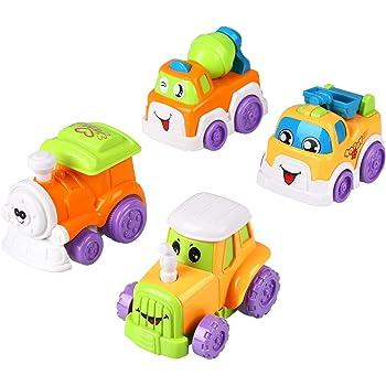 Peradix Set 4 Macchinine per Bambini Locomotiva Betoniera Trattore Camioncino Gioco Prima Infanzia (piccolo, 4 pezzi)
