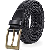 Leather Belts for Men Braided Belt Cowhide Woven Leather Belt for Casual Jeans Pants with Pin Buckle