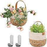 Herefun Panier Suspendu Tissé, 2 Petit Paniers Plante Tissé, Paniers Plante Floral pour Maison Décor, Panier de Rangement Pou