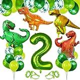 Bluelves Decorazioni Compleanno Dinosauri, Palloncino Numero 2,Decorazioni Compleanno 2 Anno, Festa Tema Dinosauri, Palloncin