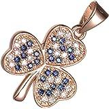 GWG Jewellery Collane Donna Regalo Collana Placcata Oro Rosa 18K Ciondolo Trifoglio Incastonato con Pietre in Zirconia Cubica