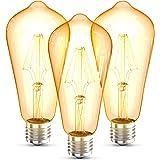 B.K.Licht ST64 Edison Vintage Lamp I E27 I 4W I 2700K I 380lm I Warm Wit I LED Lamp I Retro Lamp I Filament I Set van 3