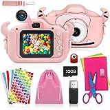 ShengRuHai Cámara de Fotos Digital para Niños,Cámara Digitale Selfie para Niños con Tarjeta de Memoria Micro SD 32GB,HD 1200