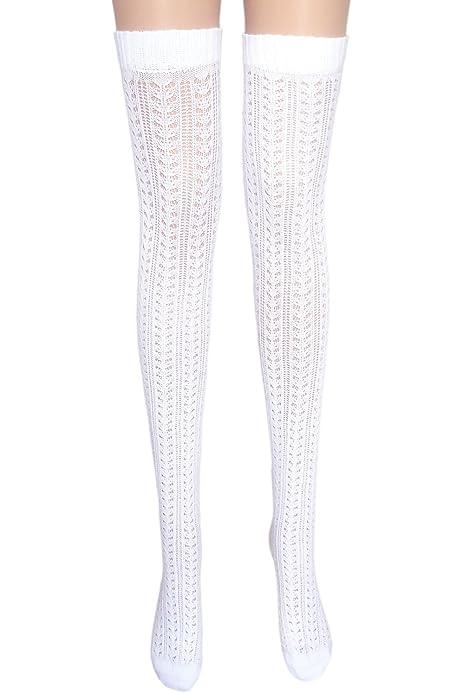 Ladies Fancy Pointelle sopra al ginocchio Calze con pizzo cotone coscia alta Autoreggenti