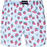 iEFiEL Men's Love Heart Print Satin Silk/Cotton Boxers Shorts Loose Sports Lounge Underwear
