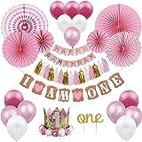 1st Birthday Party Decorations Girl - Primo Decorazione Festa di Compleanno per Bambini Kit Rosa, Bandierine Stelle Filanti P