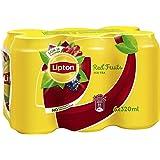 شراب الشاي المثلج مع الفواكه الحمراء من ليبتون - شراب غير غازي - علبة معدنية - مجموعة من 6 علب كل منها سعة 320 مل