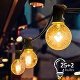 Mture Guirlande Lumineuse, Guirlande Guinguette Raccordable avec 25 Ampoule Blanc Chaud G40 Lampes Cordes, Décoration intérie