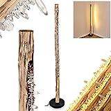 Lampadaire LED Bansberia en bois, métal et cristaux plastiques créant un effet scintillant, élégant luminaire à intensité var