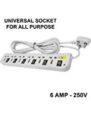 Elove 6 Amp Multi Plug Point 6+6 Extension Board Universal Socket (3 Meter Cord) with LED Indicator - Grey (Color May Vary)