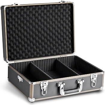 Mantona Basic M Foto-Koffer (inkl. 2 Trennstegen, zusätzlilcher Schaumstoffblock, abnehmbarer Tragegurt und 2 Schlüsseln) schwarz/braun