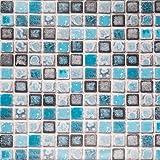 Hode Mozaïek Tegelstickers Kleefrug Plastic Rolbehang Zelfklevend voor Badkamer Keuken Wandtegel Sticker Mozaïekstijl Blauw 4