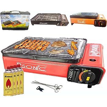 Barbecue a gas Grill a Gas, Grill da campeggio portatile barbecue grill da tavolo con piastra grill bioset + GRIGLIA + Spiedini + 4X cartucce gas + Valigetta Portatile (colore: nero, rosso o Orang)