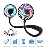 Portable Personal Fan, Hand Free Small USB Mini Neck Fan with 2000mAh Rechargeable Battery,2 modes LED Light, 3 Speeds and 36