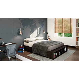 Urban Ladder Toshi Queen Size Bed with Pull Out Storage  Finish : Dark Walnut