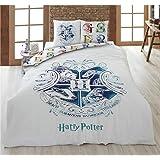 Harry Potter Parure de lit 2 Personnes - Housse de Couette 200x200 cm + 2 Taies 65x65 cm, 100% Coton