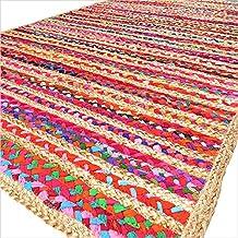 Eyes of India - de Colores Tejido Yute Chindi Trenzado Área Decorativo de Trapo Alfombra Indio