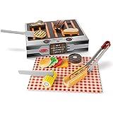 Melissa & Doug- Grill & Serve BBQ Set Alimenti da Gioco in Legno, Multicolore, 9280