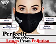 Urbangabru N99 Anti Pollution Mask with 4 layer protective filters Pm 2.5 Activated Carbon Filters (washable and reusable)(Bl