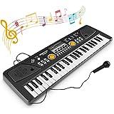 WOSTOO Teclado Electrónico Piano 49 Teclas, Teclado de Piano Portátil con Micrófono Teclado portátil Regalo para Niño, Niña P